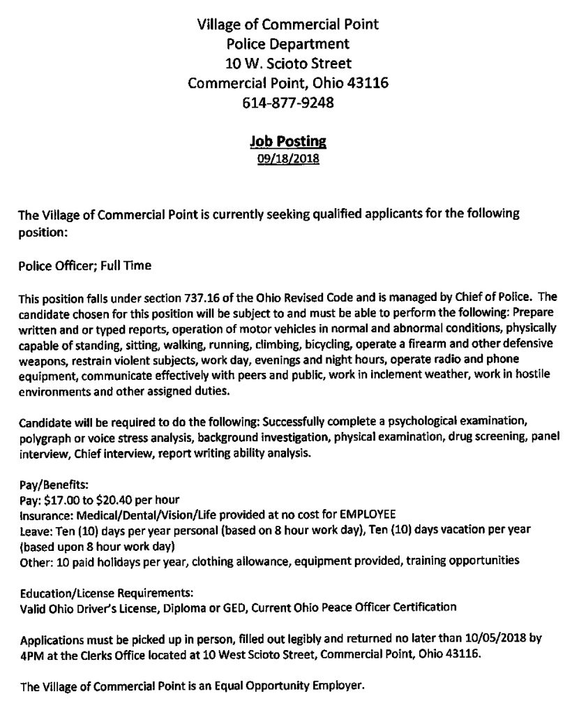 Full Time Police Officer Job Posting
